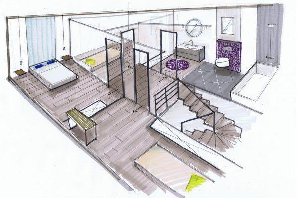 plan du 1er etage d'une maison en perspective